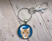 Orange Tabby Cat Keychain Striped Orange Cat Keys Glass Dome Keychain secure lobster clasp fob illustration trendy popular gifts under 20