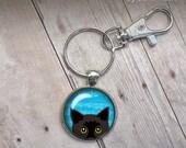 Peeking Black Cat Keychain Cute Illustration black bombay cat trendy popular gifts under 20 fob lobster lock clasp blue turquoise glass dome