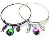 TWO DANGLE BRACELETS Peeking Black Cat Bangles Glass Cabochon Dome jewelry Adjustable with charms kawaii cute artwork fish hearts green pink