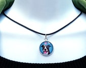 Pitbull Necklace Genuine Leather Cord Cute Blue Stripes Pitbull Graphic Cartoon Art Necklace, trendy jewelry art, Rescue Jewelry Glass Dome