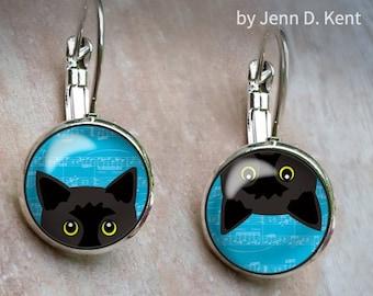 Peeking Black Cat Earrings, Mixed Pair Earrings, Cute Cats Earrings, Leverback earrings