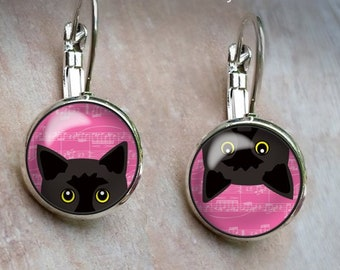 Peeking Black Cat Earrings, Pink Silver Dangle Earrings, Leverback earrings Studs Cartoon Cat Earrings Gifts Jewelry presents cute pink cats