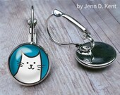 Bubble Cat Earrings, White Cat Earrings