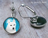 Cute White Husky Earrings...