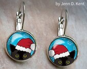 Santa Hat Cat earrings Bl...