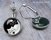 Yin Yang Cat Earrings, Cat Dangle Earrings, Black Cat, White Cat