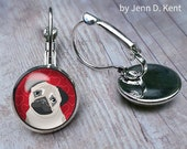 Cute Pug Earrings Pug illustration cartoon whimsical artwork tan beige red hearts love dog lovers doggy puppy jewelry gifts leverbacks studs