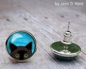 Peeking Black Cat Earrings, Peeking Cat Blue Eyes Stud Post earrings pierced 12mm studs Cute drawing hand drawn vector original bubblecat