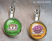 Coffee O Clock Earrings, Muffin Cute mixed earrings, sugar sweets coffee dangle leverback pastries pastry latte cappuccino starbucks cupcake