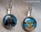 Darth Vader and Yoda Earrings, Mixed Pair Earrings, Cute Star Wars Dangle Earrings, Leverback earrings