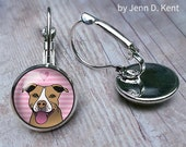 Tan Pitbull Earrings Jewelry Pink Silver Dangles Leverbacks Studs Cartoon Dog Earrings Pittie pittle pibble pit bull cute illustration gifts