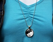 Yin Yang Cat Necklace,Bla...