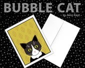 Greeting Card Tuxedo Cat Print mustard yellow leaves fall autumn black and white cat cute artwork illustration size A2