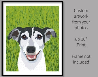 """Custom Pet Portrait 8x10"""" Print Golden Retriever Drawing photo dogs cats customized Personalized Drawing Artwork memorial gift draw my dog"""