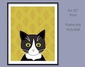 8x10 Tuxedo Cat Print mus...