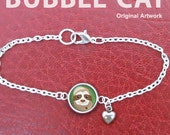 Cute Sloth Charm Bracelet, heart charm, sloth jewelry, smiling sloth face, cartoon original artwork glass dome anklet dainty small little