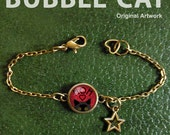 MOM Peeking Cat Bracelet, Cute Black Cat Bracelet, Cat Charm Bracelet, Mother's Day Cat and Fish Glass Dome Charm Bracelet, MOM bracelet