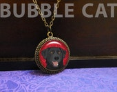 Black Lab Necklace with R...