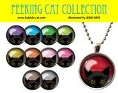 Black Cat Necklace, Peeking Cat Pendant, Blue Eyes Black cat jewelry gifts presents for girls teens kids accessories cat lovers fun ideas