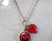 Tiny Black Kitty Mom Charm necklace Red Heart Black Bombay Peeking Cat Necklace  Link Chain and Red Heart Bead Mothers Day small keepsake