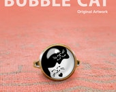 Yin Yang Cats Ring, Adjus...