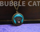 Black Lab Necklace, Labrador Retriever, Happy Dog, Smiling dog jewelry, Turquoise background, blue stars, Brown eyes, Copper Medallion