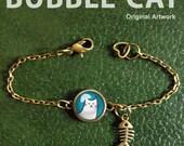 Bubble Cat Bracelet/Anklet, Cute White Cat Bracelet, Cat Charm Bracelet, Cat and Fish Glass Dome Charm Bracelet