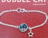 Star Wars R2D2 Silver Finish Charm Bracelet Characters Artoo Deetu Original Art cute drawing glass cabochon photo epoxy resin illustration