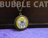 Gray Tabby Cat Necklace G...