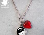 Tiny Yin Yang Black and White Cat Charm Necklace, yin yang cat keepsake teeny tiny teensy little red glass heart beaded necklace cat jewelry