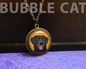 Black Lab Necklace with O...