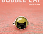 Peeking Black Cat Ring, C...