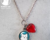 Tiny White Cat Charm Necklace, red glass heart bead, link chain, keepsake jewelry, dainty charm necklace, lightweight kitty lover pure white
