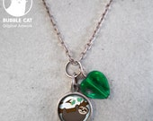 Tiny Sloth Charm Necklace, cute little baby sloth, green glass heart bead, link chain, keepsake jewelry, dainty charm, tree sloth, photo art