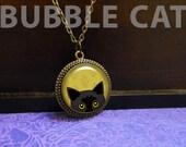 Peeking Black Cat Necklace, Black Cat Pendant, Trendy Cat Jewelry, Popular Cat gifts, Yellow leaves, Fall, Autumn, Fall colors, mustard
