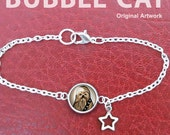 Chewbacca Charm Bracelet Chewy Cute Original Star Wars design illustration star charm silver finish drawing artwork cabochon cabs glass dome