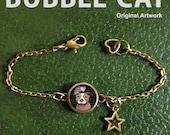 Tan Brown Pitbull Bracelet, Charm Bracelet, Heart Charm, Star Charm, Dog lovers jewelry, Jewellry, Cute cartoon dog, Large dog breed, Anklet