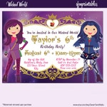 Descendants Inspired Birthday Invitation - Wicked World - Evie Mal - Purple and Blue - Custom Character Party Flyer