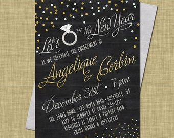 new years engagement party invitation modern vintage rustic chalkboard confetti new years eve couples shower gold silver confetti engaged