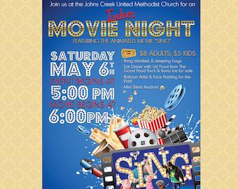 Movie Night Flyer Etsy
