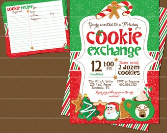 Christmas Cookie Swap Exchange Invitation And Cookie Recipe Etsy