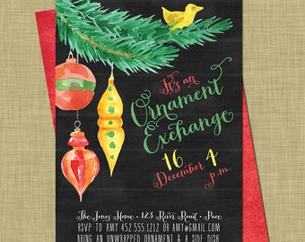 Christmas Ornament Exchange Invitation // Christmas White Elephant Party / Modern Holiday Swap / Modern Chalkboard / Bright Gifts Ornaments