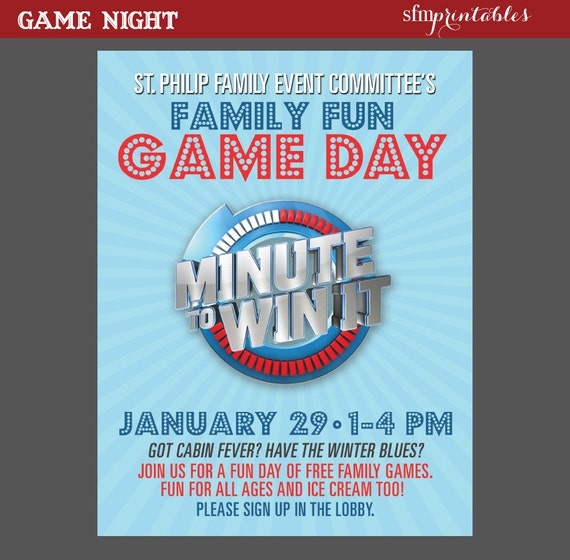 Game Night Poster Minute To Win It Template Church School Etsy
