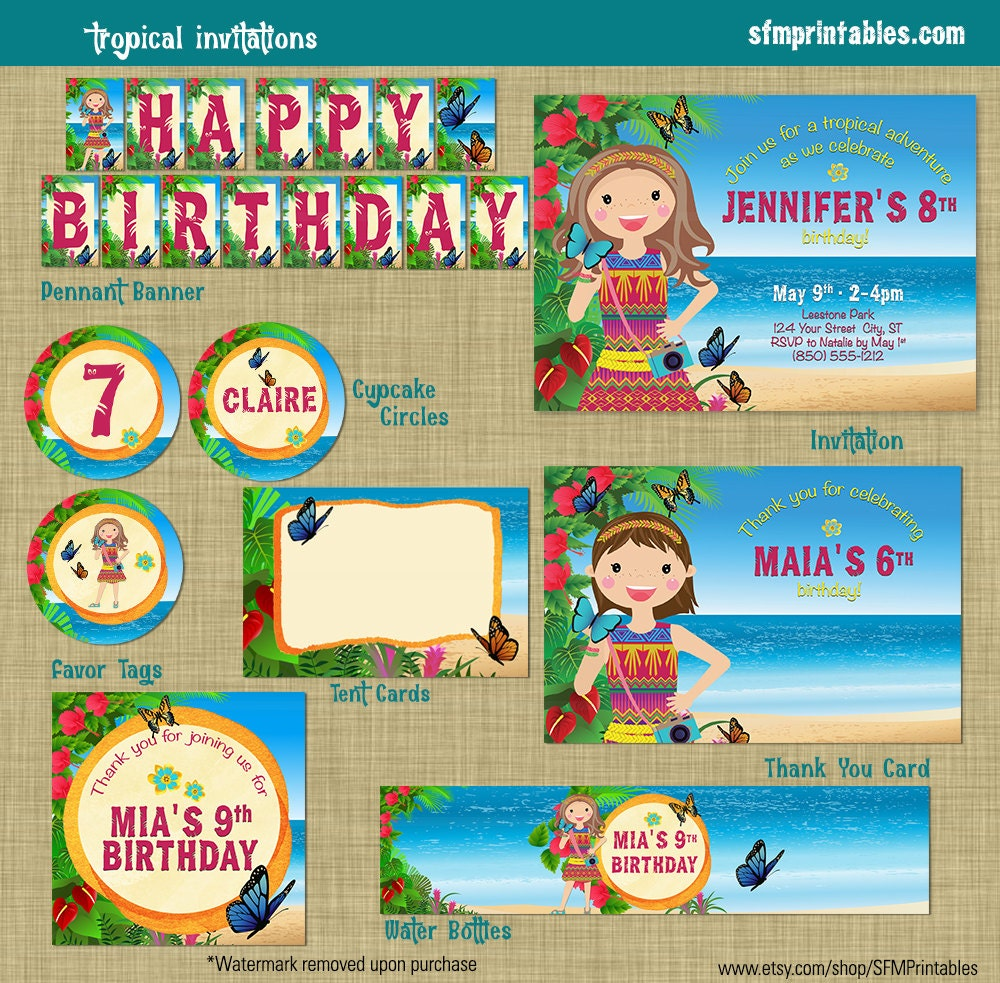 Tropical Luau Party Beach Birthday Invitation Theme Printable Girl Doll 2016 Beach Jungle Rainforest Blonde Brunette AA Luau Pool Party, used for sale