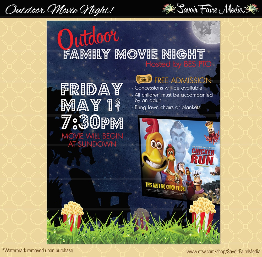 Outdoor Movie Night Flyer Movie On The Green Poster Etsy