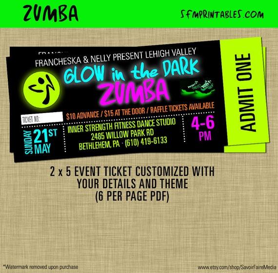 Custom zumba slam tickets zumba fitness event glow etsy image 0 stopboris Images