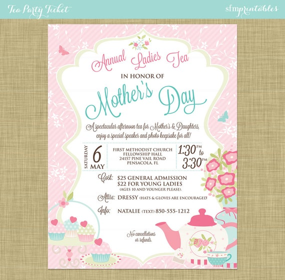 Mother S Day Tea Social Flyer Invitation Postcard Poster Template