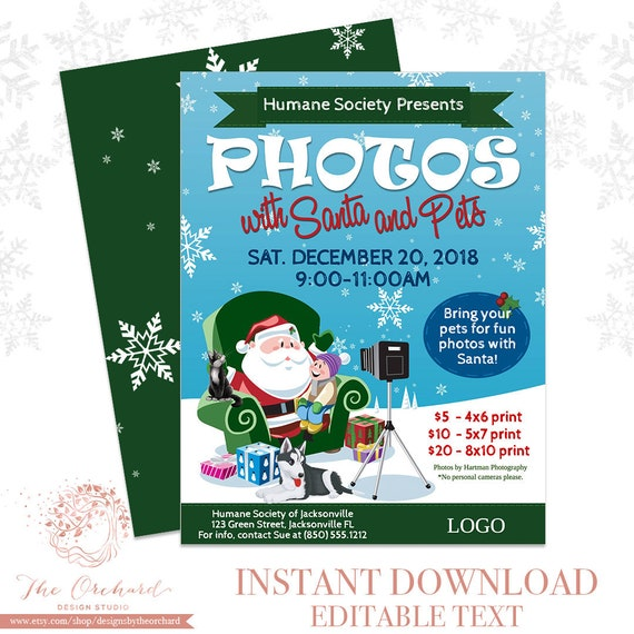 Christmas Fundraiser.Pictures With Santa Flyer Instant Download Photos With Pets Santa Invitation Christmas Fundraiser Church School Holiday Poster Animals