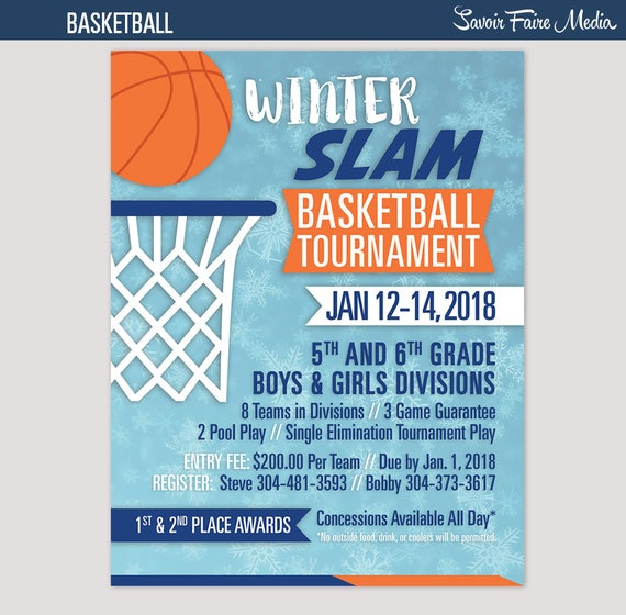 basketball tournament flyer invitation winter poster template etsy