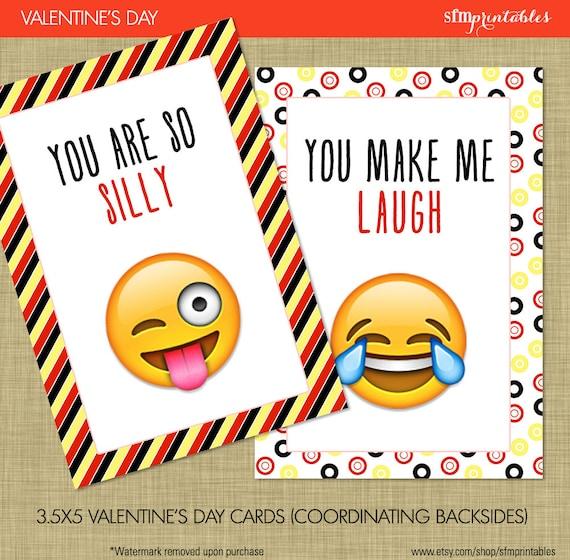 Instant Download Emoji Valentine S Day Cards Kids Etsy